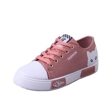 Animal bonito sapatas de lona lisas das Mulheres 2018 novo verão renda branca placa de estudante dos desenhos animados das senhoras sapatos casuais sapatilhas Confortáveis