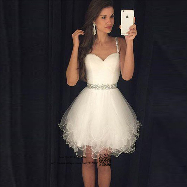d7880e77a Blanco Homecoming Vestidos Formales Vestido Corto de Graduación de  Secundaria Cristales Vestido de Festa Curto octavo