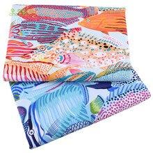 Chainho, Profondo-Pesci di Mare Serie Tessuto di Tela di Cotone, fatti a mano del Panno del Tessuto Per Divano Tenda di Casa il Sacchetto di Materiale Della Decorazione, 50x150cm