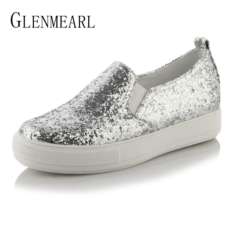 Sequined Women Shoes Loafers Flats Woman Brand Platform Thick Heels Casual Comfort Ladies Lazy Shoes Plus Size 34-44 new hot 2018 fashion brand women cartoon loafers flats shoes woman casual slip on platform shoes ladies comfort shoes size 35 40