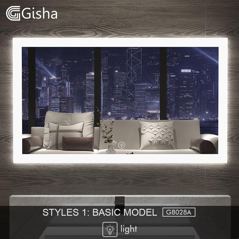 Gisha miroir connecté miroir de salle de bain à led Mur miroir pour salle de bain toilette de salle de bain Anti-miroir de brouillard Avec écran tactile Bluetooth G8028