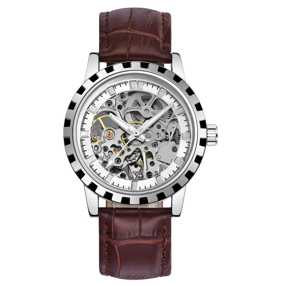 2016 brand Luxury Sport men s Automatic Skeleton Mechanical Military Watch Men Silver full Steel Band