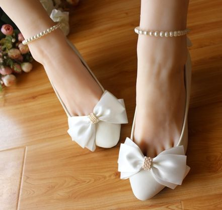 bd399c15061 White wedding shoe delicate handmade bow back ankle beading strap bow  bridal shoes white pumps shoe different heels WDS 017