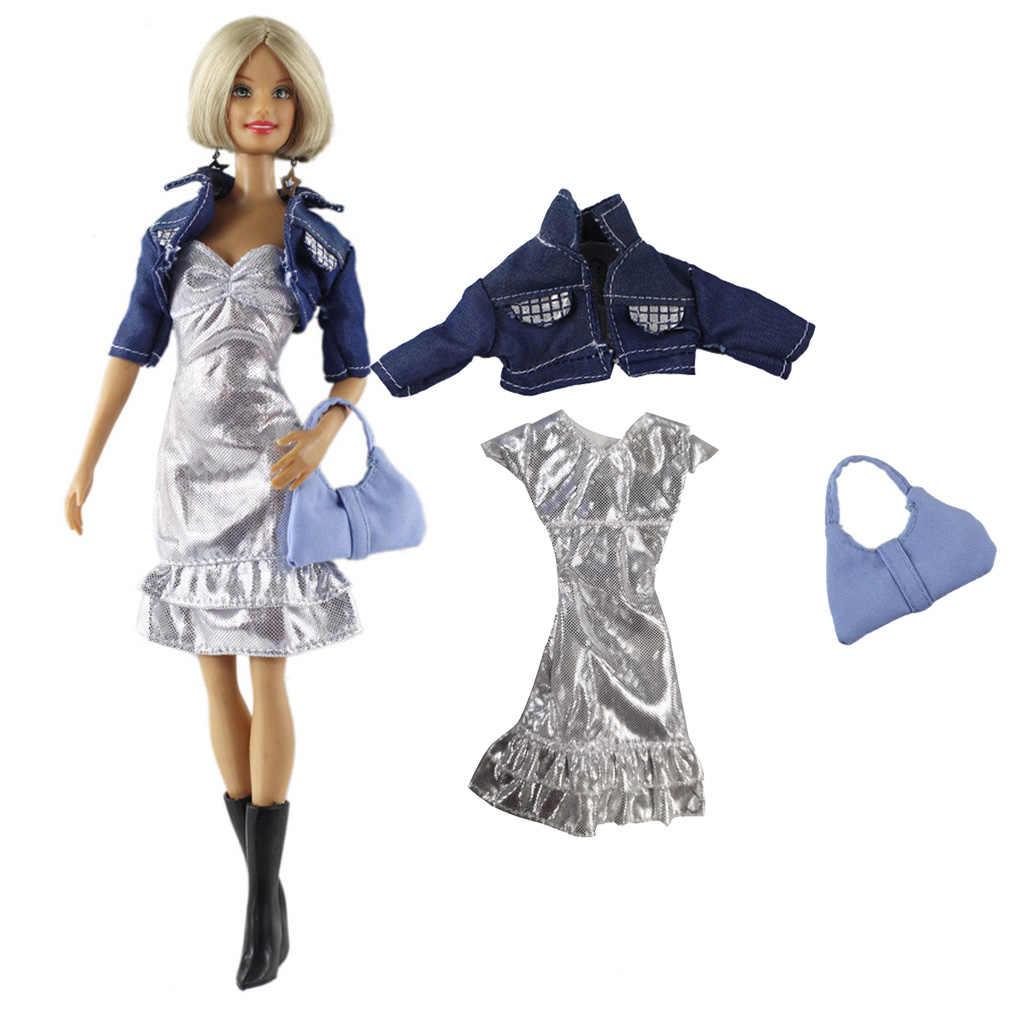 1/6 Scale ตุ๊กตาสาวสไตล์สาวตุ๊กตาเสื้อผ้า,Silver & สั้นแจ็คเก็ต DENIM และกระเป๋าถือ,ชุด 3 ชิ้น