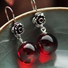 Real стерлингового серебра 925 натуральный камень серьги для женщин красный гранат и белый опал Ретро красивые розы резные
