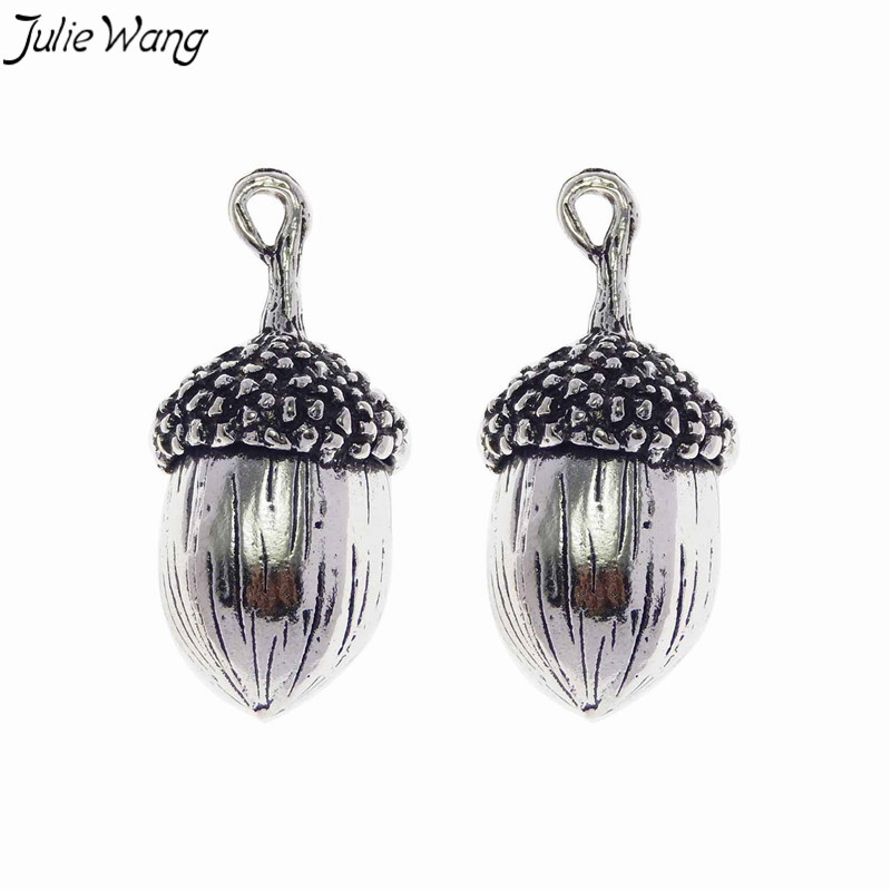 Julie Wang 2pcs Vivid 3D Acorn Pendant Antique Silver Color Zinc Alloy Charm Unique Jewelry Necklace for Children DIY Findings