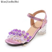 High end Customization Luxury Crystal Sandals Crystal Heel Cinderella Rhinestone Shoes Chunky Heel Womens Sandals Purple Shoes