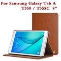 Moda tablet case cubierta de cuero para samsung galaxy tab a 8.0 pulgadas T350 SM T355 T355C Concha Protectora Protector de la Película de La Pluma Regalos