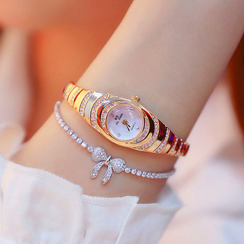 New hot gold and silver rose no digital rhinestone scale high-end small chain watch female table Fashion & Casual