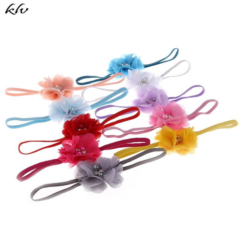10Pcs Cute Baby Kids Girls Flower Pearl Hair Band Rhinestone Headband Headdress Lovely Accessories
