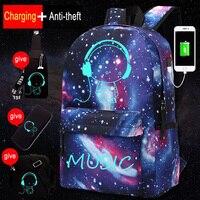 소년을위한 새로운 빛나는 학교 가방 별이 빛나는 하늘 학생 배낭 데이 팟 숄더 15-16 인치 USB 충전 포트 잠금 배낭