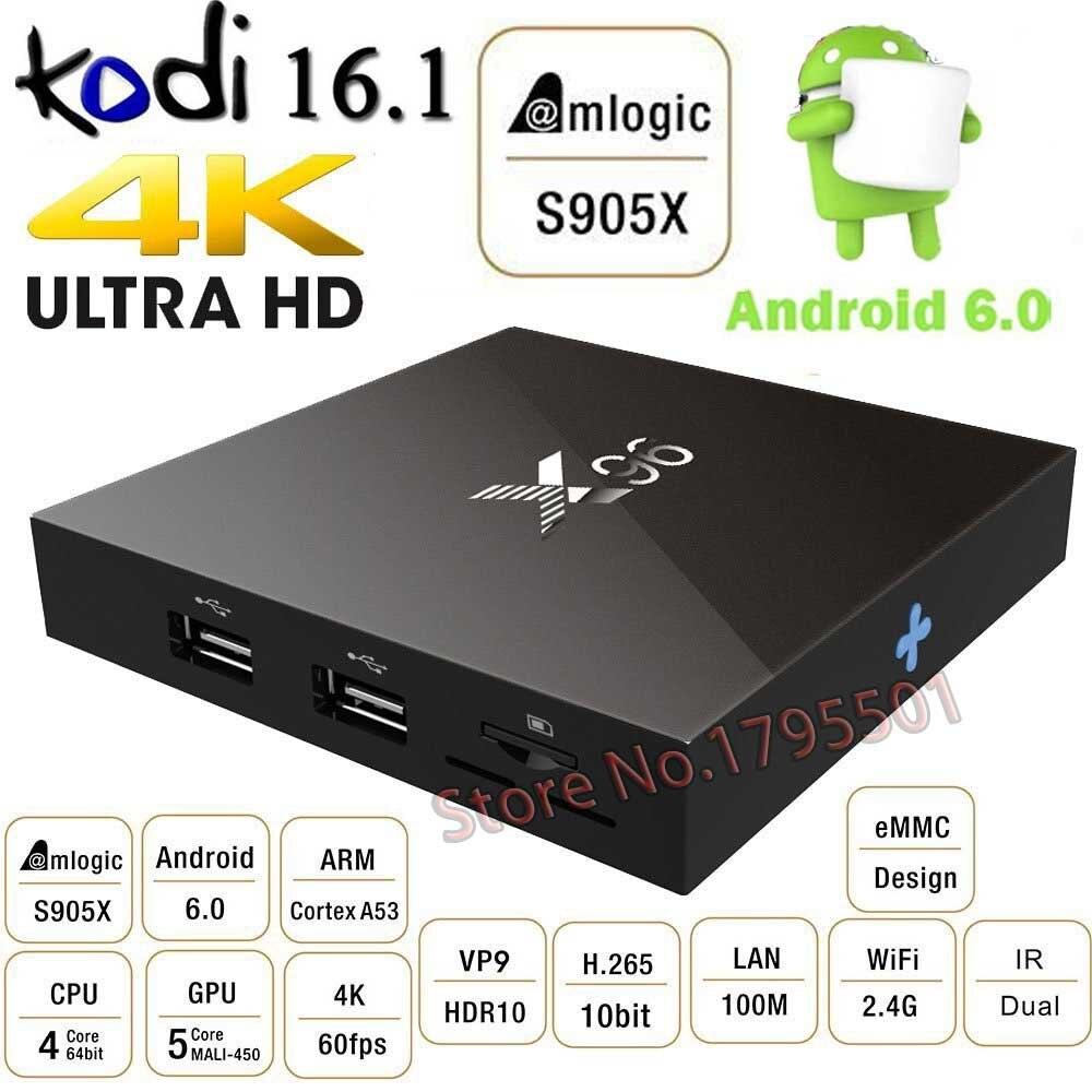 ФОТО 5PCS/Lot SKF-X96 Android 6.0 TV Box 2G/16G Amlogic S905X 64bit Quad Core Ultra HD 4K HDR H.265 DLNA HDMI 2.0a Smart TV Box