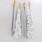 h14 Free shipping baby small square / feeding napkin soft cotton cloth Gray bottle pattern 4 pieces installed size 28 * 28