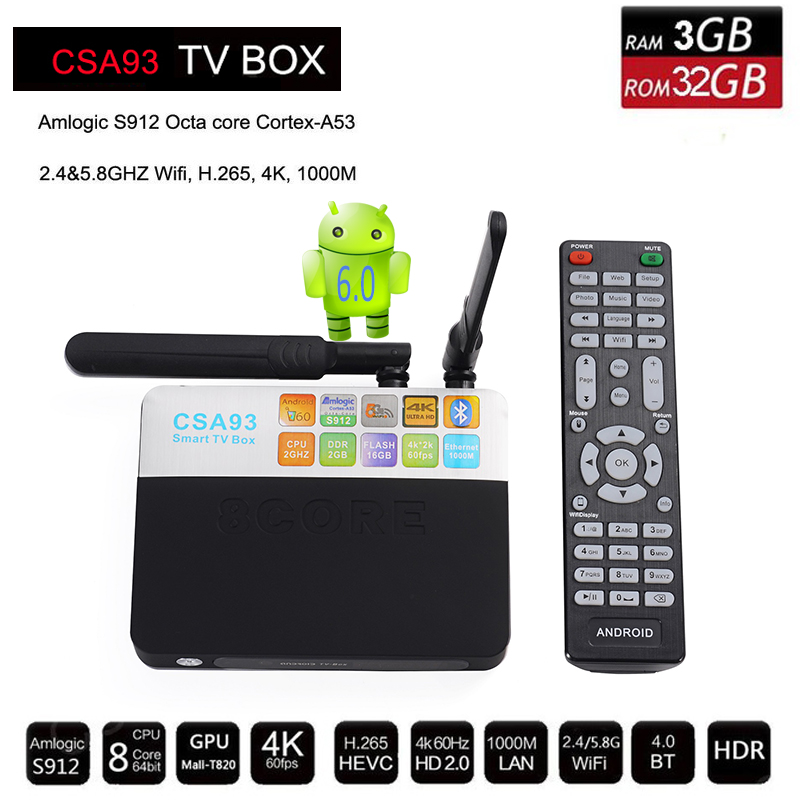 2G/16G 3G/32G Amlogic CSA93 S912 Cortex-A53 Octa Core Android 6.0 BT4.0 TV Box 2