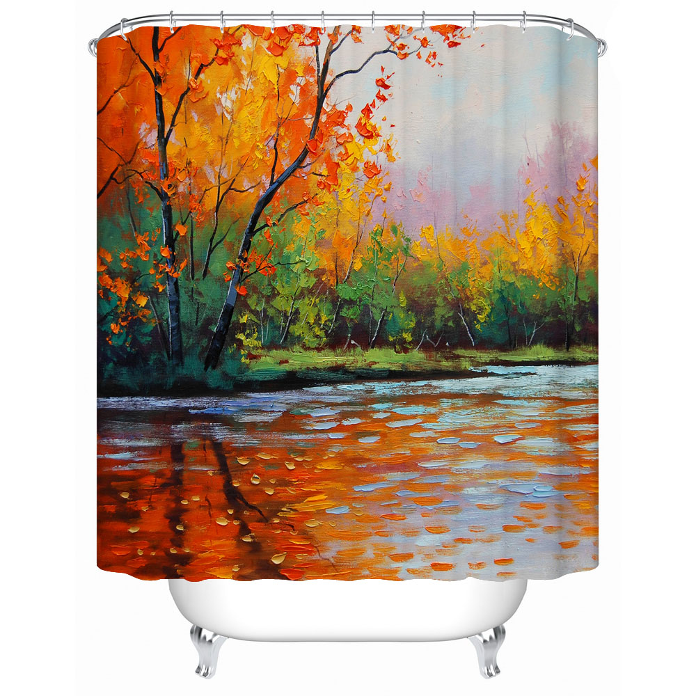 Oil Painting The Charming Autumn Scenery That Trees and Their Refection Are So Harmonious Shower Curtain for Bath Decor Orange