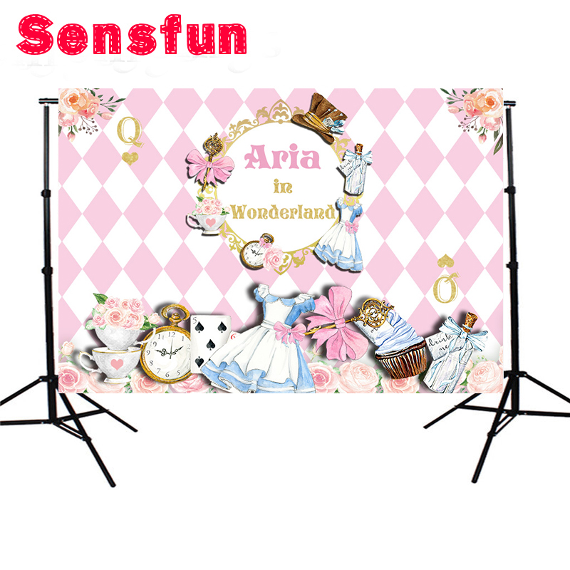 7x5ft Vinyl Pink Theme Cartoon Photocall Alice in Wonderland Kids First birthday  Party Custom Photo Studio b9d14b7d165f