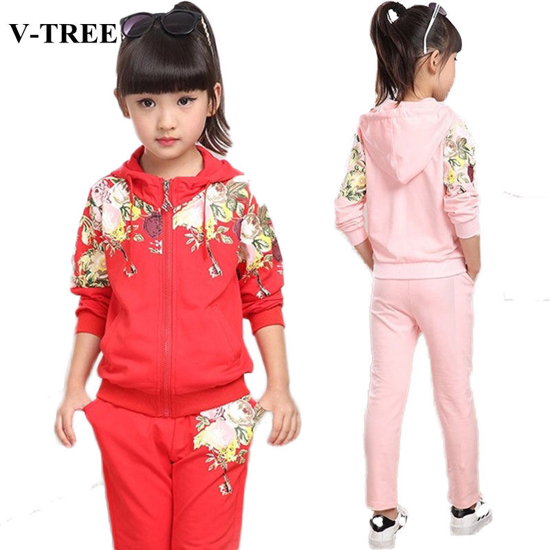 V-TREE Girls Clothing Set 2019 Autumn Floral Clothes Set For Girl Children Sport Suit Kids tracksuit Teenage 10 12 Years