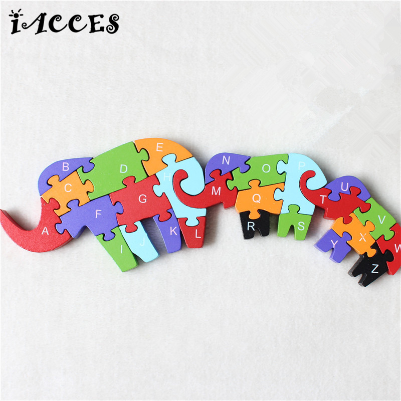 Wooden Animals Elephant and Deer Cartoon Puzzle toys Kids Baby English Letters and Numerals Educational Toys Brain Train Game pilsan puzzle 4x4 animals