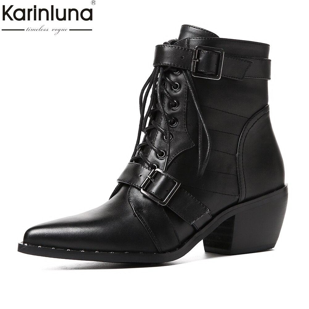 KarinLuna 2018 Marque Nouvelle Vache En Cuir Grande Taille 34-42 Vente Chaude Chunky Talons Bottes Femmes Chaussures Femme Occidentale cheville Bottes