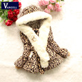 2016 autumn and winter  Leopard fur coat Girls Hooded Scarf  for girls casual clothes baby thick fleece warm clothing with bag