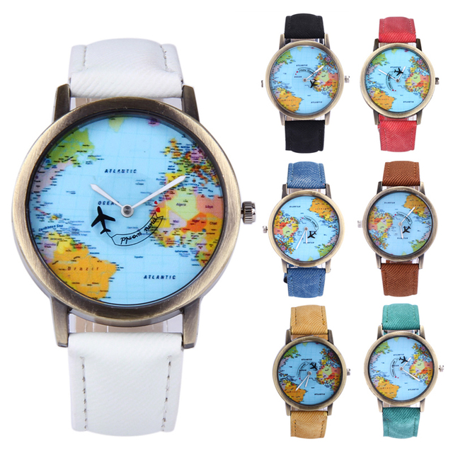 Women dress watches fashion global travel by plane denim fabric women dress watches fashion global travel by plane denim fabric watch blet world map dial pattern gumiabroncs Images