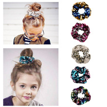 Sequins Reversible Thick Scrunchies Bobbie Hair Ties Scrunchy Elastic Rubber Band Ponytail Holder Bands Bows Accessories