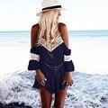 2016 Новые Комбинезоны Женщины С Плеча Нейлон Кружева Sexy V Шеи Дикий Стиль Повседневная Пляж Плюс Размер Летние Женские одежда