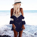 2016 Novos Playsuits Mulheres Off The Shoulder Laço de Nylon Sexy V Pescoço Estilo Selvagem Casual Praia Plus Size Feminina Verão roupas