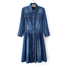 Denim Dress Female Vestidos Single Breasted Women Autumn Dress Long Cotton Party Dresses Jeans Denim Dress Plus Size 4XL C2384
