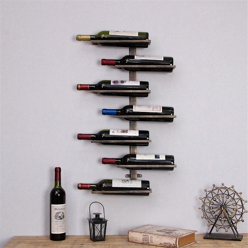 Rétro fer Art rouge vin Rack liège conteneur porte bouteille cuisine Bar affichage métal artisanat artisanat vin Stand décor L3123 - 3