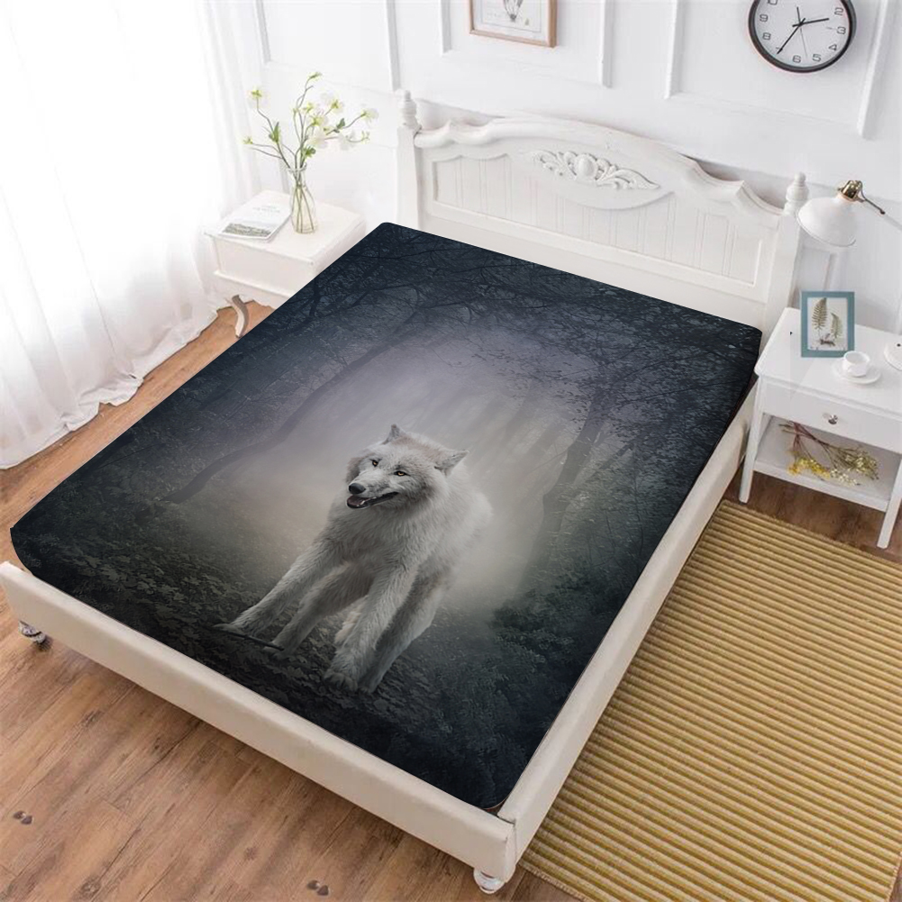 Animal Bed Sheets Wolf Sheep Print Fitted Sheet Soft Bedclothes Mattress Cover Elastic Band King Queen