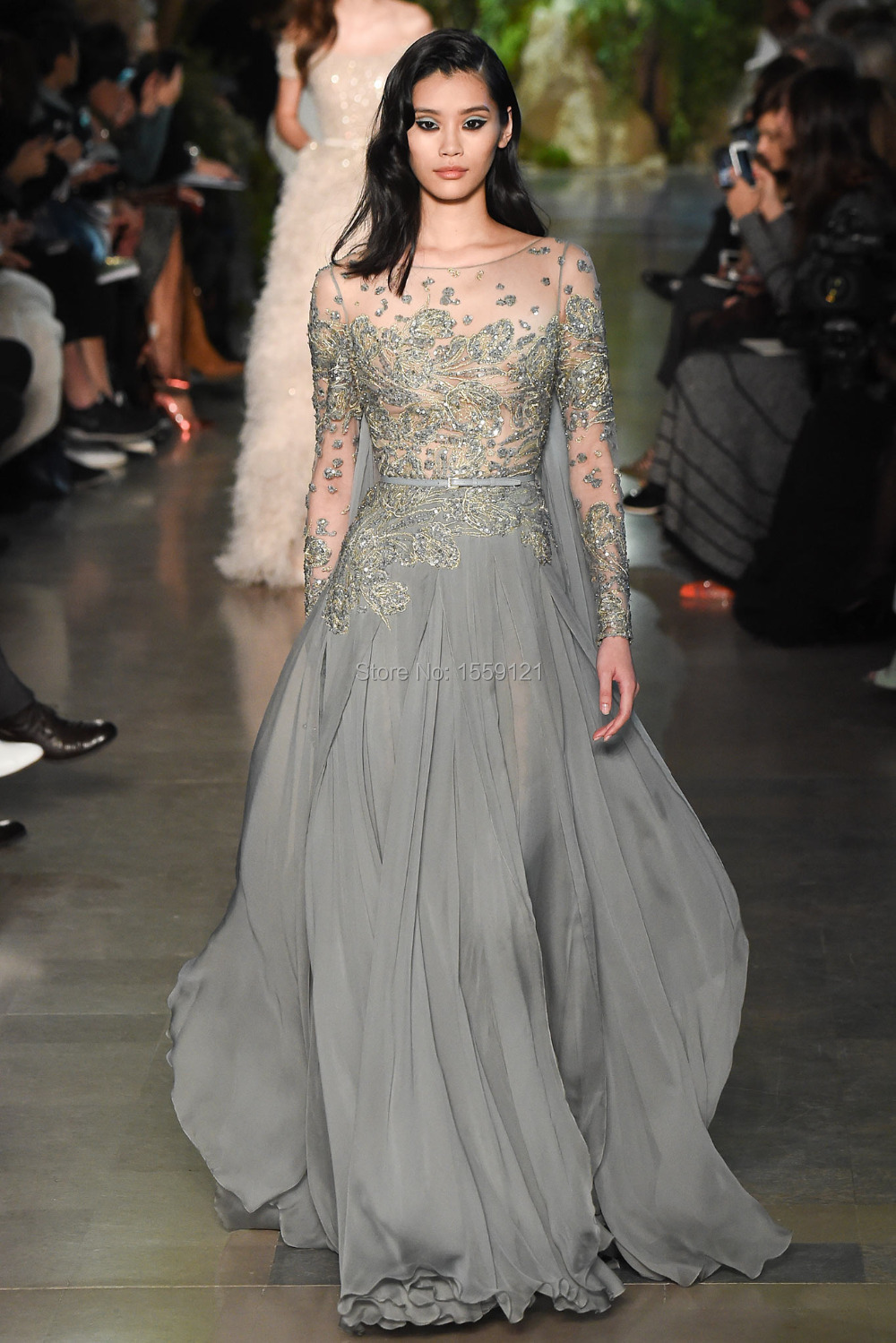 Elegant Elie Long Sleeve Evening Dress Saab Floor Length Gray