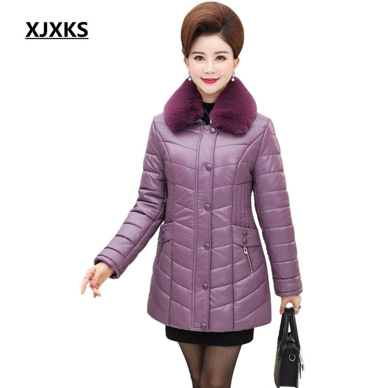 XJXKS Women Leather Jacket Winter New 2019 Plus Cotton Coat Women PU Leather   Parka   Turn Down Collar Long Sleeve   Parkas   Coats