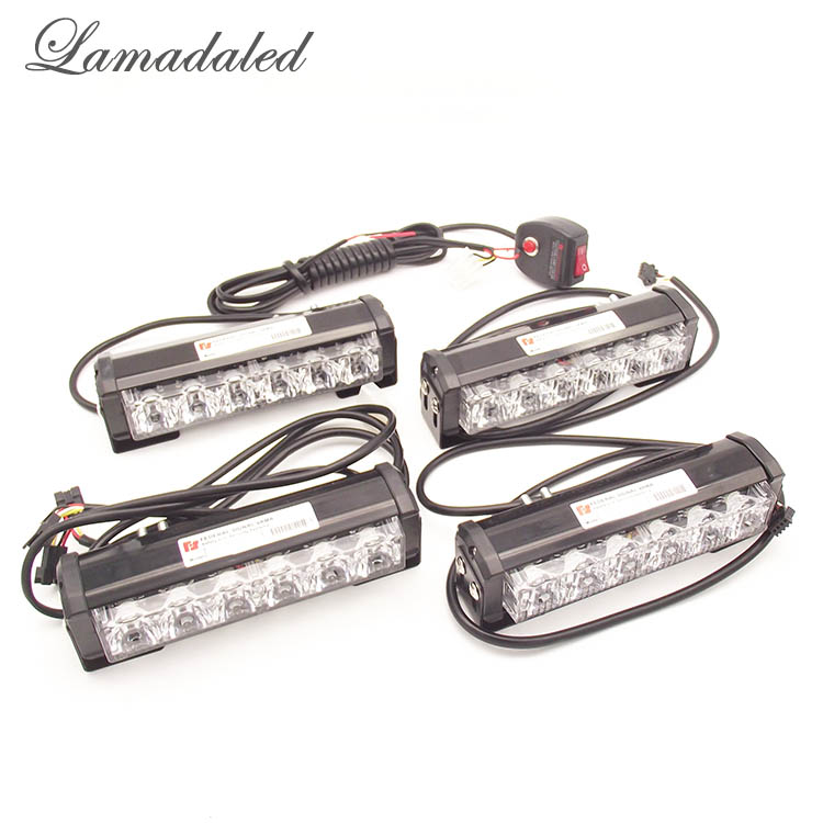 Lamadaled 4pcs 16cm high power led car grille strobe lights red blue police vehicle bumper warning light bar car day light 360 degree rotation demo 4 led red blue police car light for 1 10 r c car red white blue