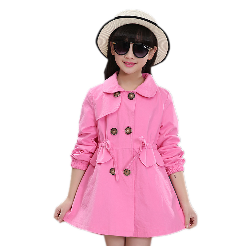 teenager girls jackets outwear 2017 new autumn turn down collar kids girls trench coat double breasted children long coat 5-15T цены