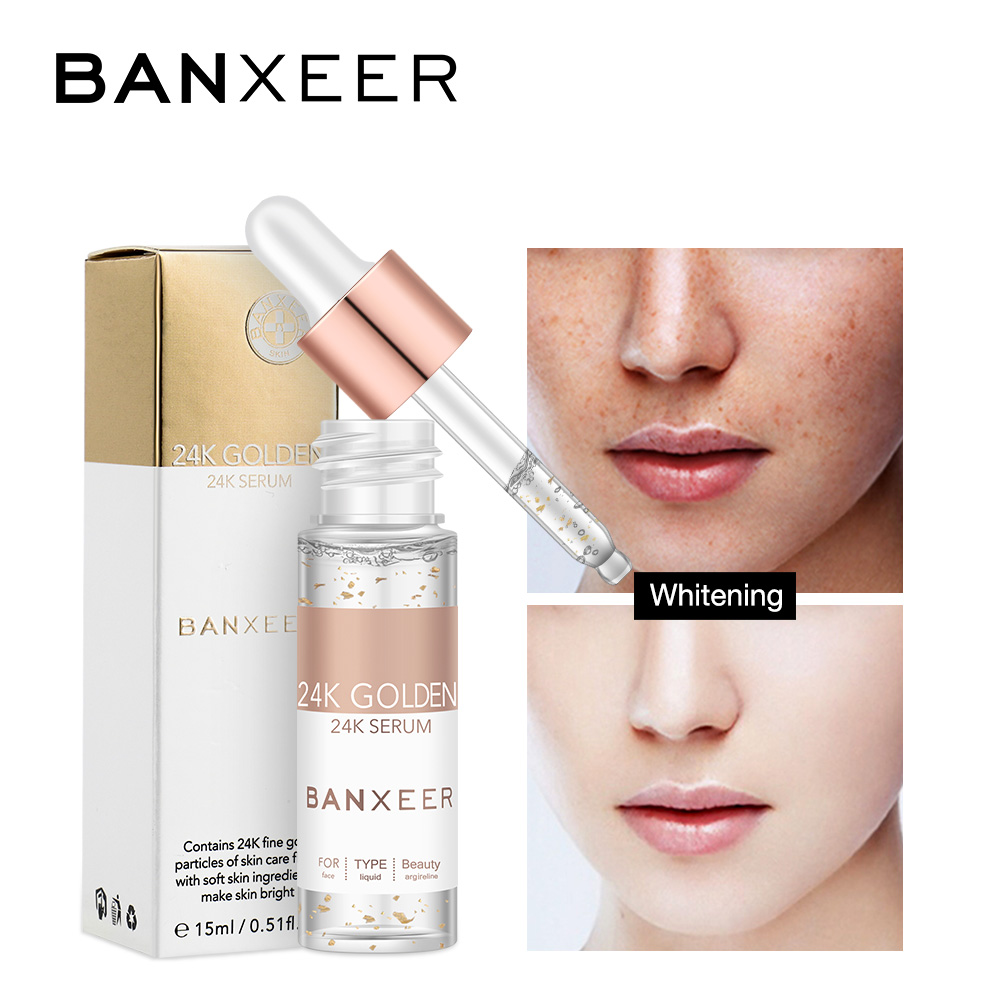 BANXEER 24K Gold Hyaluronic Acid Liquid Moisturizing Face Serum Whitening Fade Freckles Plant Anti Aging Anti Wrinkle Skin Care