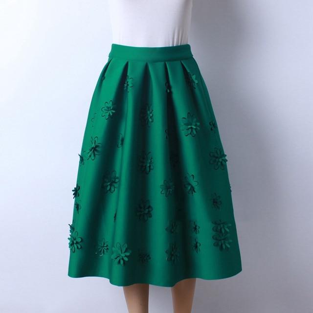 76d3a30e79 Puffy Falda Verde Oscuro Moda Tallada Flor Longitud 73 CM Medio pantorrilla  Faldas Para Las Mujeres