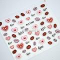 Decorações da arte do prego por atacado fantasia glitter 3D beijo carta e rosa coração shap unhas adesivos 10 pcs frete grátis