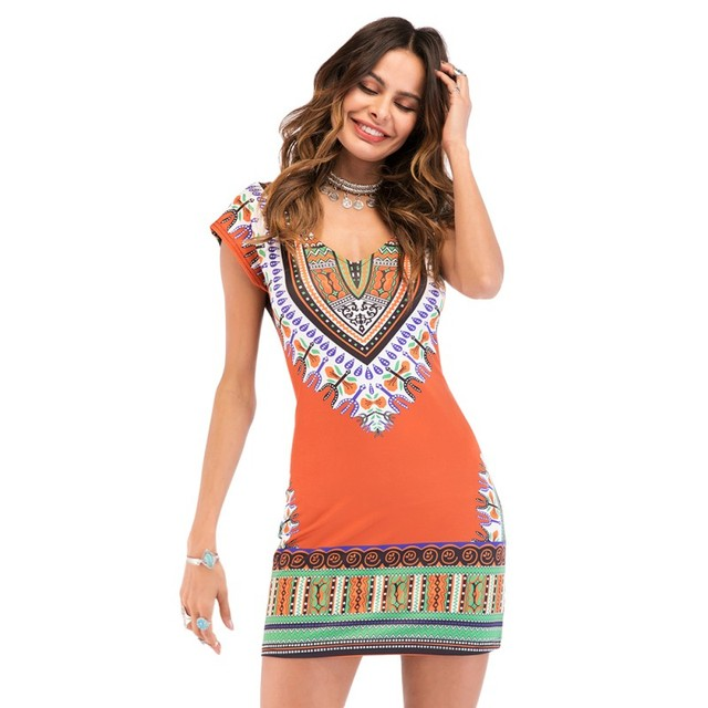 db027aaf3063 New Ladies Summer Dress Casual 2018 Short V neck Sexy African Dresses  Dashiki Traditional Print Mini Womens Beach Vestidos-in Dresses from Women s  Clothing ...