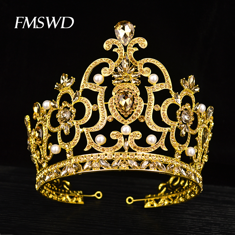 New Vintage Gold Color Luxuy Rhinestone Big Tiara For Bride Wedding Queen Lager Royal Crown Tiaras Hair Jewelry Hair Accessories new vintage gold color luxury baroque crown rhinestone crystal queen tiara big crown for bridal wedding hair jewelry accessories