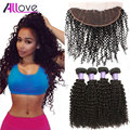 Ear to Ear Lace Frontal Closure With Bundles Malaysian Kinky Curly Virgin Hair With Closure Mink Human Hair Bundles With Closure