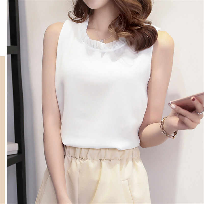 VogorSean Womens Summer Tops Chiffon Blouses Casual Ladies Shirts New Fashion Ruffled Flower Neck Sleeveless Woman Top