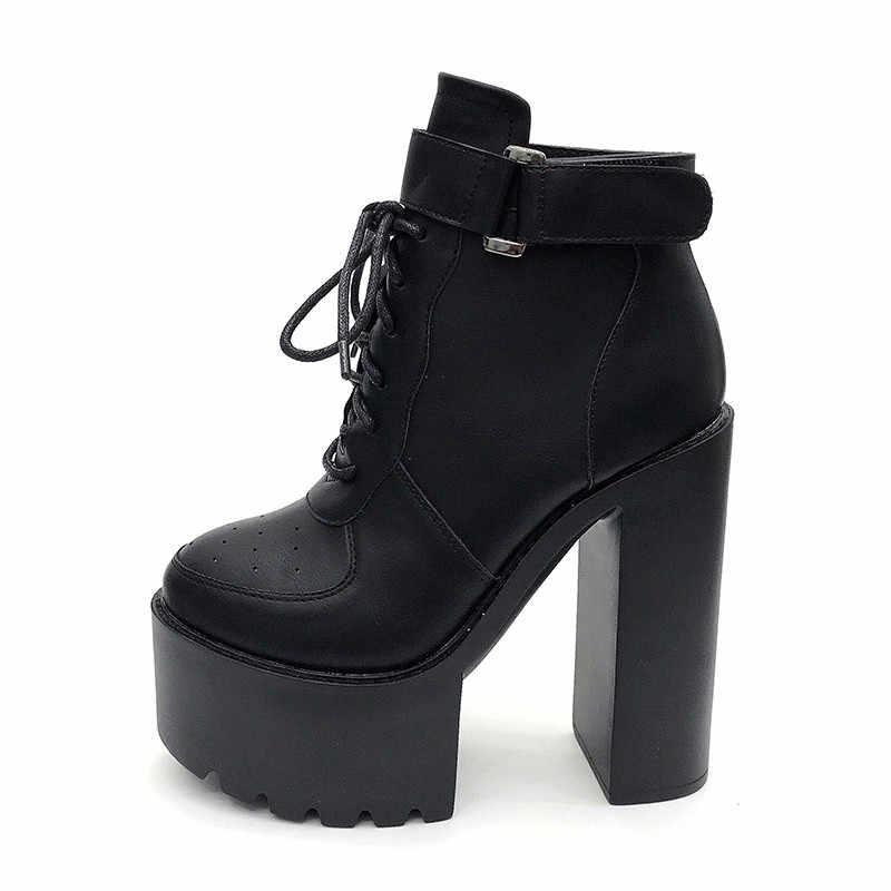 Prova perfetto Sıcak Rus Ayakkabı Siyah Platformu Çizmeler Kadın Fermuar Sonbahar Yüksek Topuklu Ayakkabılar ayak bileği bağcığı Botları Beyaz Kauçuk Taban