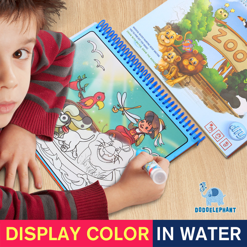 DODOELEPHANT Animals Painting Magic Water Drawing Book Education Drawing Doodle Coloring Book For Kids Drawing Toys Gift