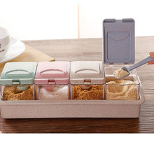Environmentally Friendly Wheat Straw Stuffing Box Four-grain Seasoning Cans With Small Spoon Kitchen Salt Shaker