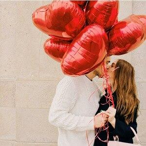 Image 4 - 50 개/몫 레드 핑크 하트 모양의 풍선 나는 당신을 사랑합니다 풍선 공 18inch 알루미늄 풍선 웨딩 파티 용품