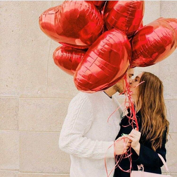 Image 4 - 50 قطعة/الوحدة الأحمر الوردي على شكل قلب بالونات أحبك بالونات نفخ كرات 18 بوصة الألومنيوم بالون الزفاف لوازم الحفلات-في بالونات وإكسسوارات من المنزل والحديقة على AliExpress