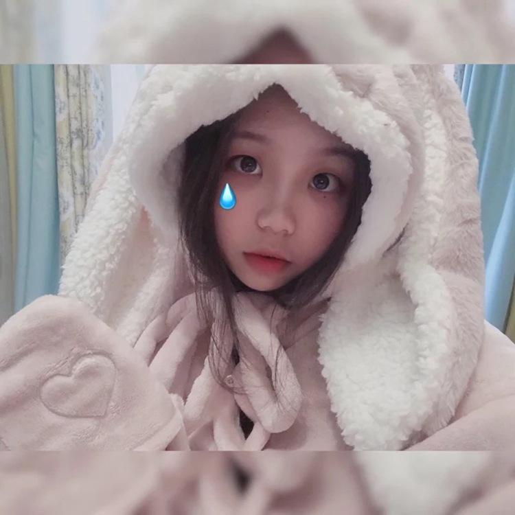 Cute Pink Comfy Blanket Sweatshirt Winter Warm Adults and Children Rabbit Ear Hooded Fleece Blanket Sleepwear Huge Bed Blankets 108
