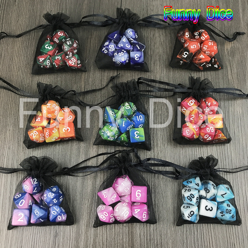 Newest 7pcs 2-color Dice Set With Nebula Polyhedral Dice With A Free Dice Bag D4-D20 For Dnd RPG BoardGame Party Family Game(China)