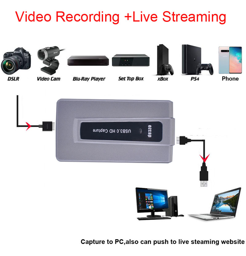 HDMI to USB 3.0 HD Capture Recording Video Conference Phone Game Live Streaming For PS3 PS4 XBOX OBS Twitch Youtube Hitbox VmixHDMI to USB 3.0 HD Capture Recording Video Conference Phone Game Live Streaming For PS3 PS4 XBOX OBS Twitch Youtube Hitbox Vmix